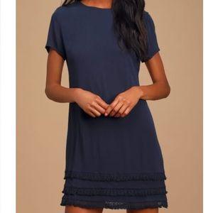 NWT Navy Blue Short Sleeve Dress from Lulus